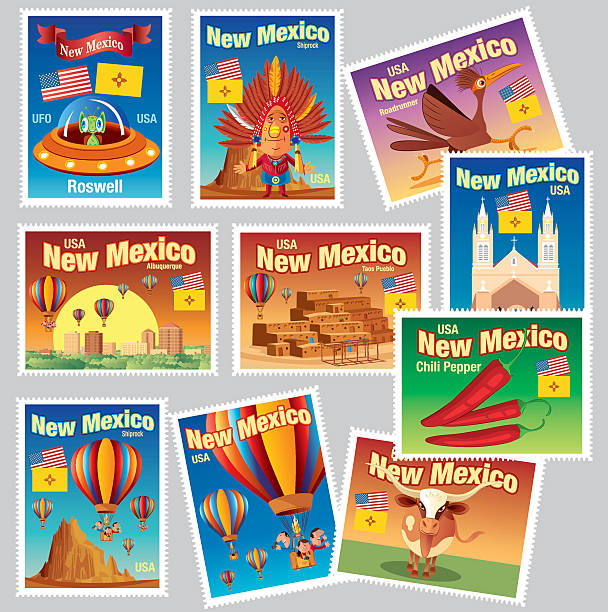 New Mexico Stamps vector art illustration