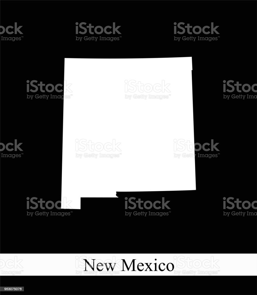 New Mexico State Of Usa Map Vector Outline Illustration Black And ...