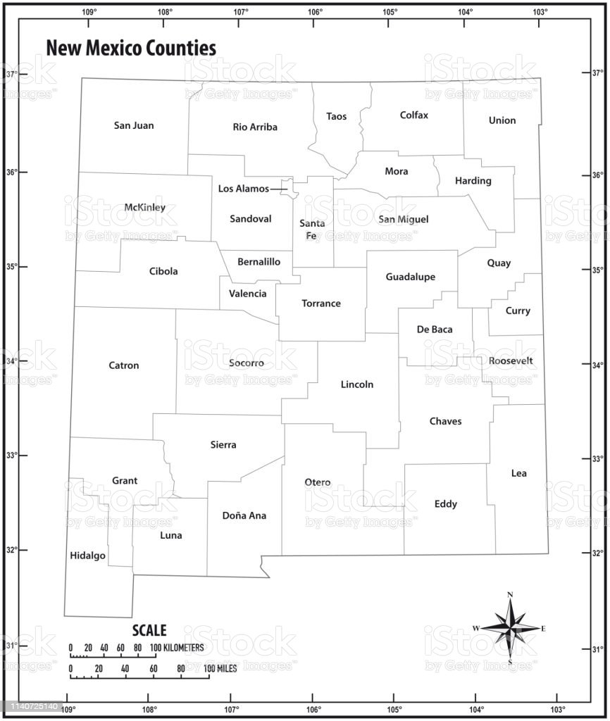 new mexico state outline administrative and political vector map in black and white