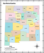 new mexico state outline administrative and political vector map in color