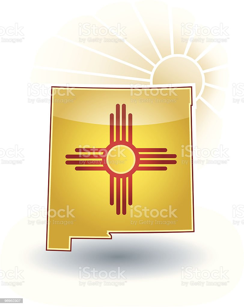 New Mexico State with flag, sun beams and shadow. vector art illustration