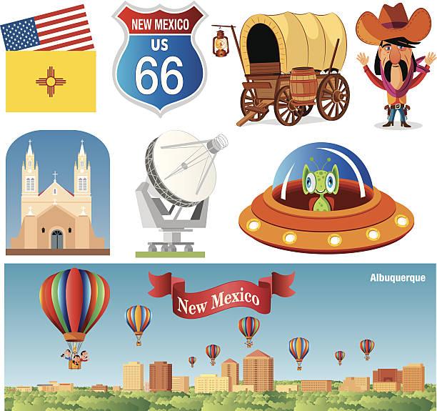 New Mexico Symbols vector art illustration