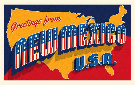 Greetings from New Mexico USA. Retro style postcard with patriotic stars and stripes lettering and United States map in the background. For 4th of July or Memorial Day travel. Vector illustration.