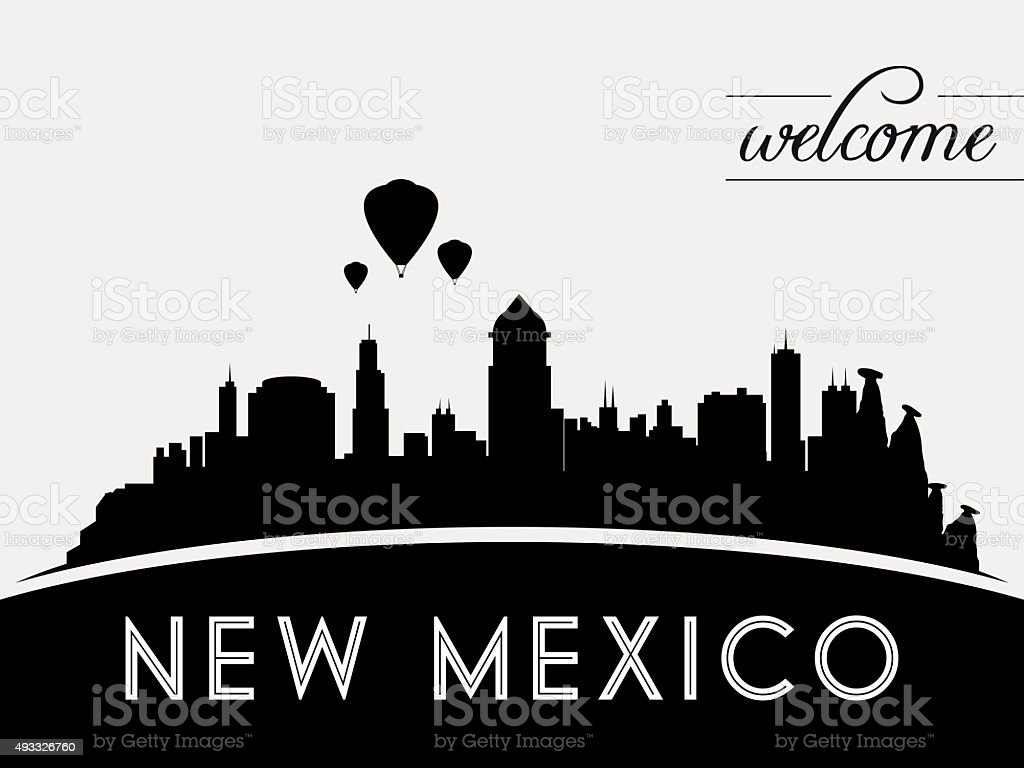 New Mexico USA skyline silhouette, black and white design vector art illustration