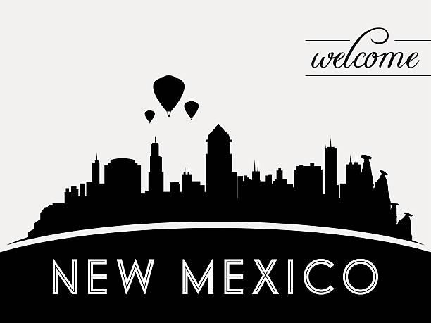 New Mexico USA skyline silhouette, black and white design vector art illustration