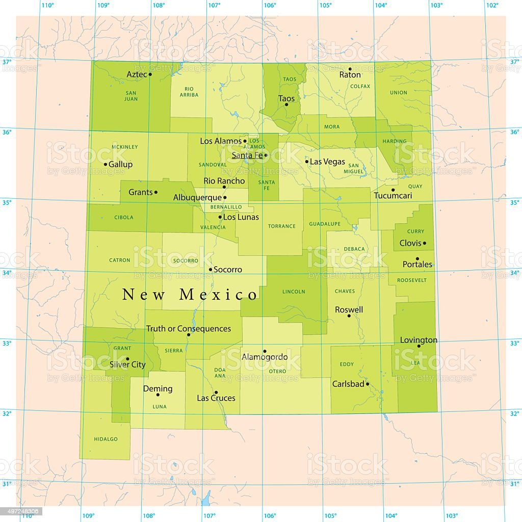 New Mexico Vector Map vector art illustration