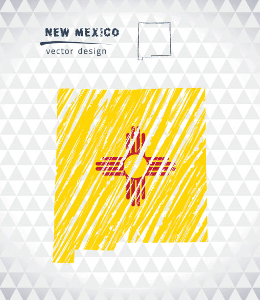 New Mexico vector map with flag inside isolated on a white background. Sketch chalk hand drawn illustration vector art illustration