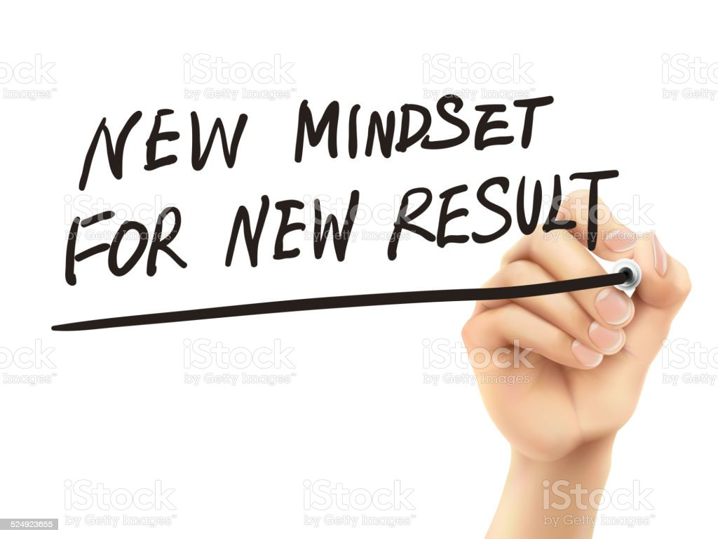 new mindset for new results words written by hand vector art illustration