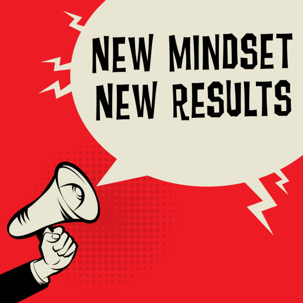 New Mindset New Results business concept Megaphone Hand business concept with text New Mindset, New Results, vector illustration attitude stock illustrations