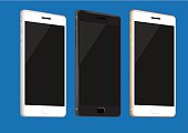 New Mobile Phones in White, Black and Gold