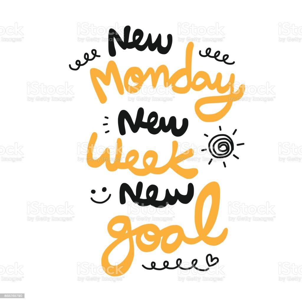 New monday new week new goal word doodle style vector art illustration