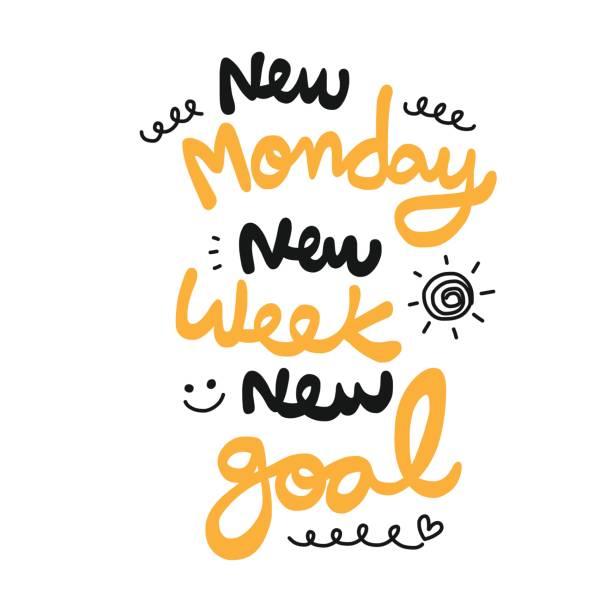 bildbanksillustrationer, clip art samt tecknat material och ikoner med ny måndag ny vecka nya mål ordet doodle stil - happy driver