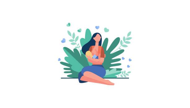 ilustrações de stock, clip art, desenhos animados e ícones de new mother feeding baby with breast - amamentação
