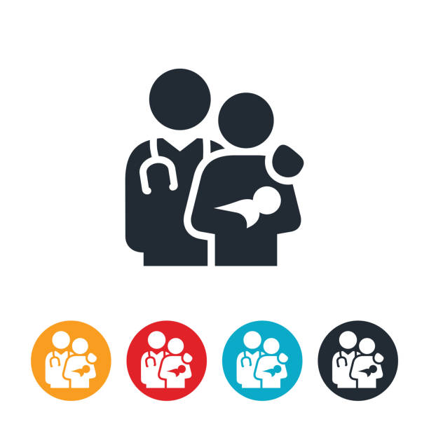 New Mother With Doctor Icon An icon of a new mother holding her newborn baby with her physician with their arm around her shoulder. gynecology stock illustrations