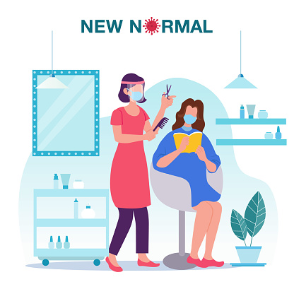 New normal concept illustration with a female hairdresser wearing face shield and mask doing haircut for customer in hair salon prevention from disease outbreak. New normal after Covid-19 pandemic concept
