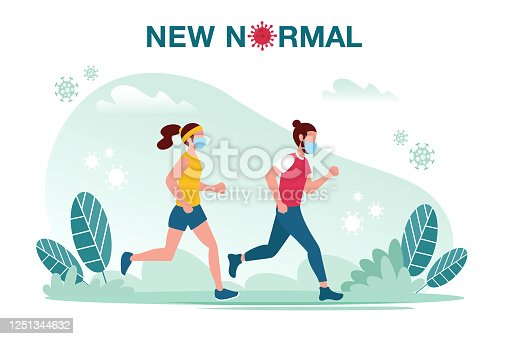 istock New normal concept illustration with male and female jogging with face mask prevention from disease outbreak. New normal after Covid-19 pandemic concept 1251344632