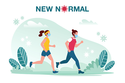 New normal concept illustration with male and female jogging with face mask prevention from disease outbreak. New normal after Covid-19 pandemic concept