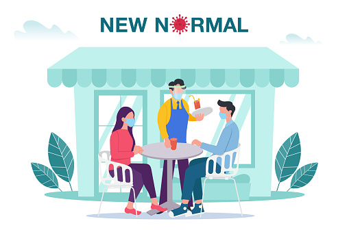 New normal concept illustration with male and female sitting at outdoor cafe or restaurant tables with face mask prevention from disease outbreak. New normal after Covid-19 pandemic concept