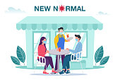istock New normal concept illustration with male and female sitting at outdoor cafe or restaurant tables with face mask prevention from disease outbreak. New normal after Covid-19 pandemic concept 1251344430