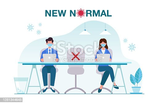 New normal, concept, illustration, office, people, Covid-19, pandemic