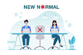 istock New normal concept illustration with office people keep distance from each other and working with face mask prevention from disease outbreak. New normal after Covid-19 pandemic concept 1251344645