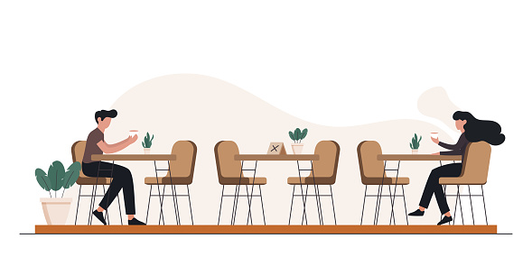 New Normal Concept Restaurant, Food and Drink Related Vector Illustration