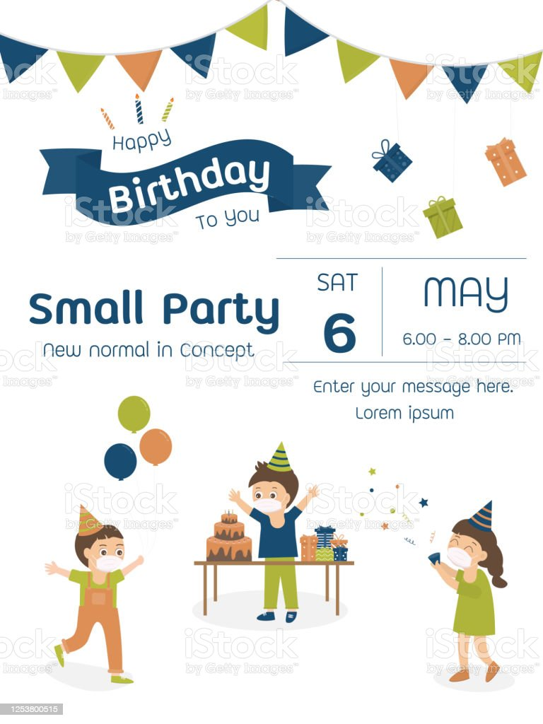 new normal in concept small birthday party invitation card stock illustration download image now istock