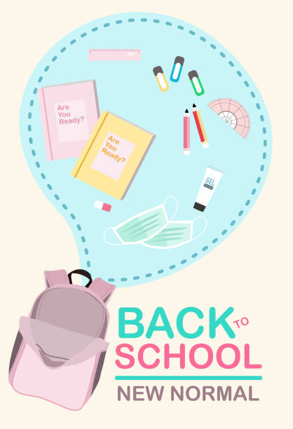 """illustrazioni stock, clip art, cartoni animati e icone di tendenza di new normal kit for back to school.pink backpack with text """"back to school , new normal and stationery on pastel background. - new normal"""