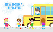 istock new normal lifestyle concept Back to school, happy cute diverse Kids and Different nationalities wearing medical masks at the bus stop during Coronavirus or covid-19. Social distancing, outbreak 1253638187