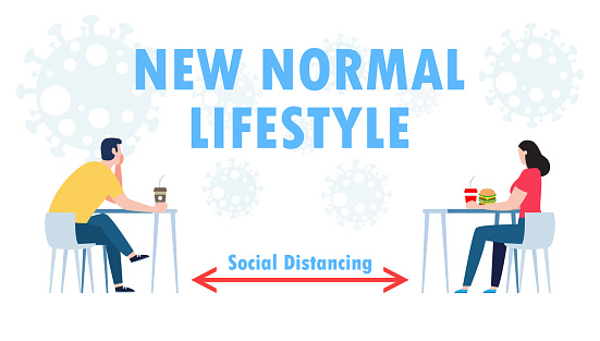 new normal lifestyle concept, physical social distancing concept in restaurant man and a woman sit a distance apart in food center or cafe prevent coronavirus or covid 19 isolated on white background