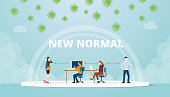 new normal office work life balance situation with mask and social distance concept with modern flat style vector illustration