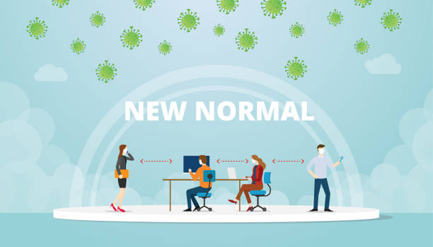 illustrazioni stock, clip art, cartoni animati e icone di tendenza di new normal office work life balance situation with mask and social distance concept with modern flat style vector - new normal