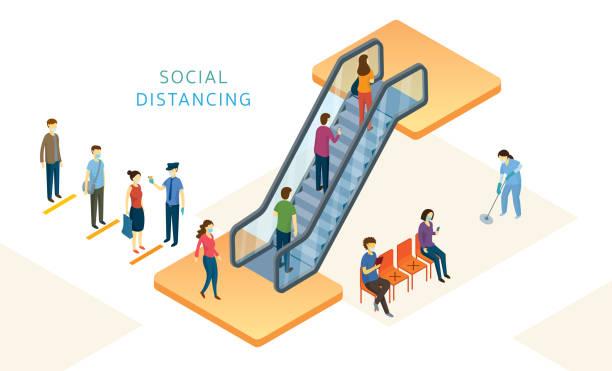illustrazioni stock, clip art, cartoni animati e icone di tendenza di new normal, people, social distancing in mart and store - new normal