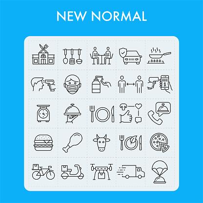 New Normal. Restaurant Line Icon Set.