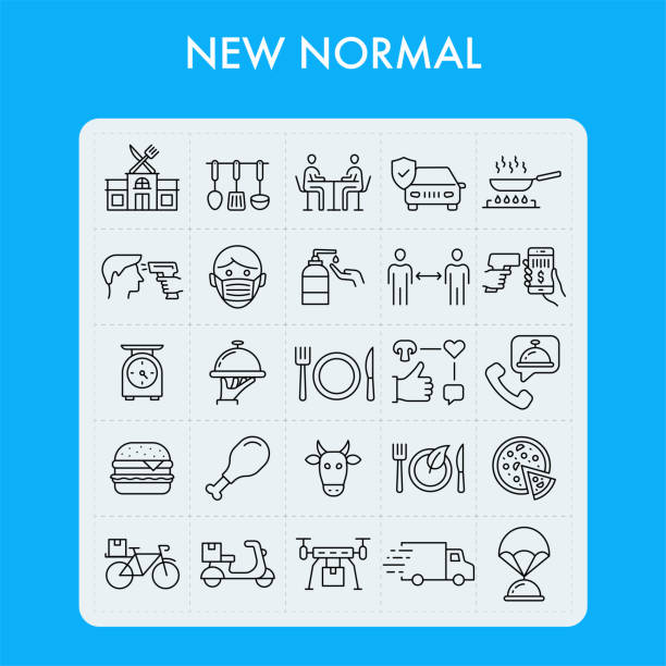 ilustrações de stock, clip art, desenhos animados e ícones de new normal. restaurant line icon set. - covid restaurant