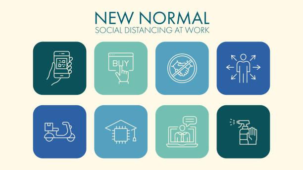 illustrazioni stock, clip art, cartoni animati e icone di tendenza di new normal social distancing line icons - new normal