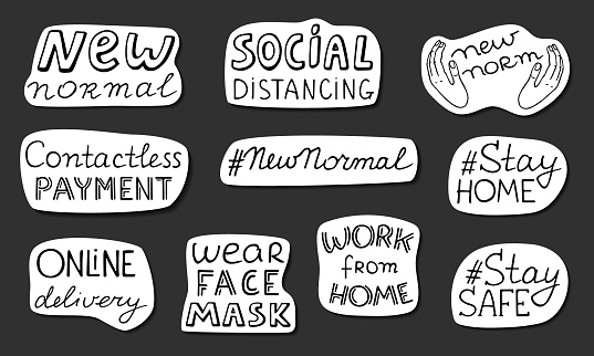 New normal stickers pack. Wear face mask stay at home work from home contactless payment online delivery social distancing. Black doodle lettering. Stock vector illustration isolated ready to print