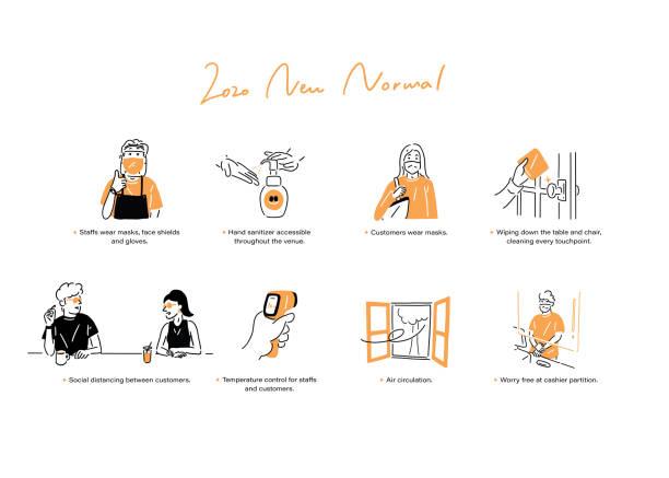 illustrazioni stock, clip art, cartoni animati e icone di tendenza di 2020 new normal - new normal
