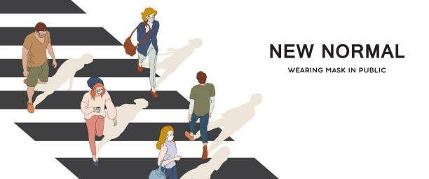 illustrazioni stock, clip art, cartoni animati e icone di tendenza di new normal_wearing mask - new normal