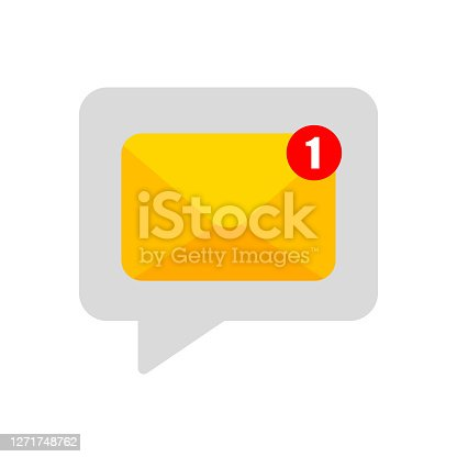 istock New notification. Email notification. Flat banner. Incoming message. Message icon. Message bell icon. One new notification concept. Email interface. Text message. Chat bubble. 1271748762
