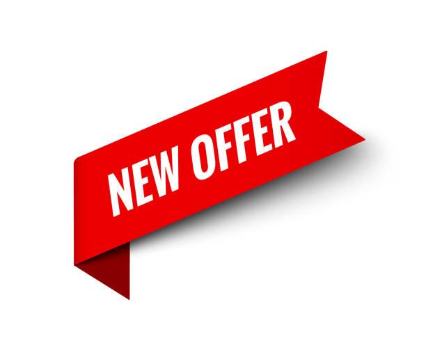 ilustrações de stock, clip art, desenhos animados e ícones de new offer ribbon vector banner. red promotion label bew offer price tag label for advertising - new