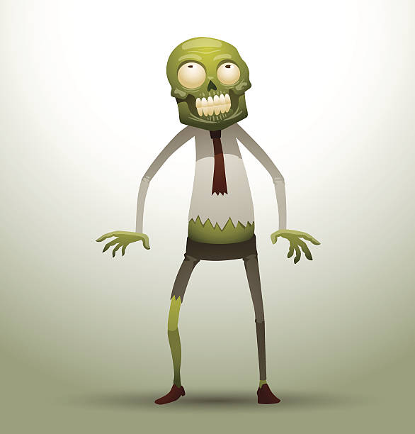 new office zombie looking upwards - old man funny pictures stock illustrations
