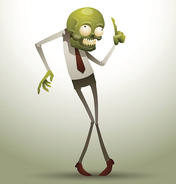 new office zombie standing with his hand raised - old man funny pictures stock illustrations