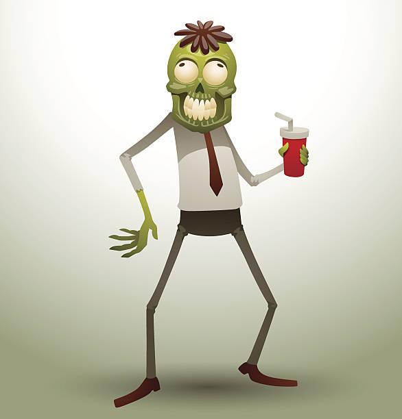 bildbanksillustrationer, clip art samt tecknat material och ikoner med new office zombie with a drink - coffe with death