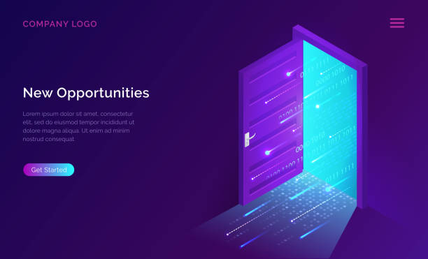 New opportunities isometric landing page banner New opportunities isometric landing page. Binary digital code coming through open door on neon glowing futuristic background. New technologies coming to human life, high-tech 3d vector illustration door stock illustrations