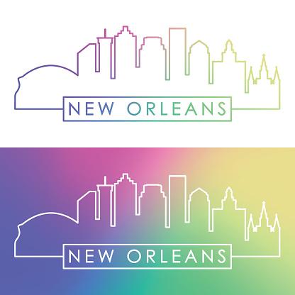New Orlean skyline. Colorful linear style. Editable vector file.