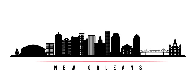 New Orleans city skyline horizontal banner. Black and white silhouette of New Orleans city, USA. Vector template for your design.