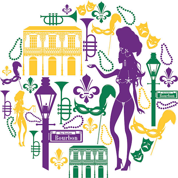 new orleans icon montage - mardi gras cartoons stock illustrations, clip art, cartoons, & icons