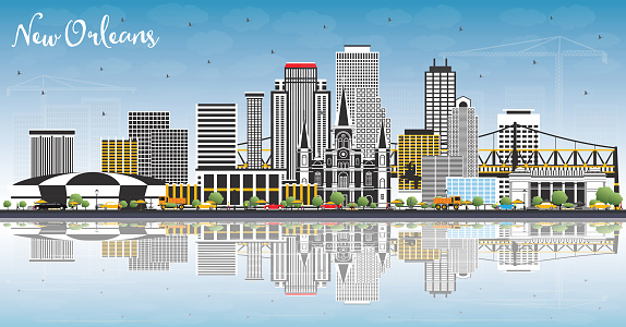 New Orleans Louisiana City Skyline with Gray Buildings, Blue Sky and Reflections.