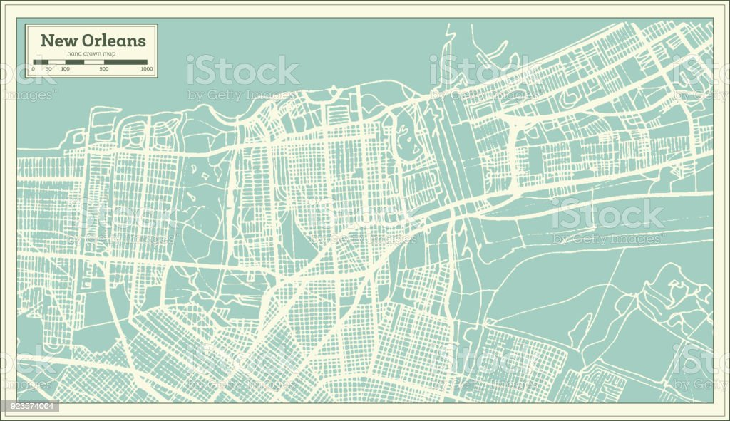 New Orleans Louisiana USA City Map in Retro Style. Outline Map. vector art illustration